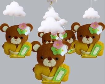 Baby Crib Mobile -  Custom Baby mobile - Nursery Forest Crib Mobile -Kimono Bear baby mobile-Baby Mobile