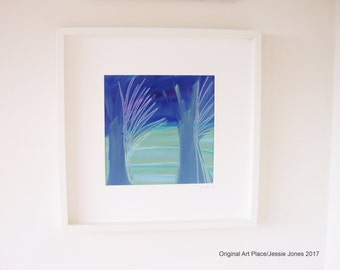 Title:  'Two Blue Trees' by Jessie Jones. Framed original abstract painting.