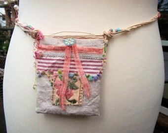 Small linen bag vintage embroidered roses pearls indian embroidery silk cord handsewn linenbag sweet small fabric bag OOAK