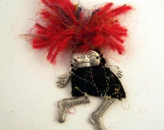 red headed doll pin