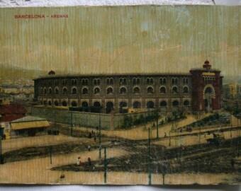 Vintage postcard.Postal antigua.Barcelona.España.Arenas.Spain.Ephemera.Collectible.Colored postcard.Rare.Unique.Vintage Spain.España antigua