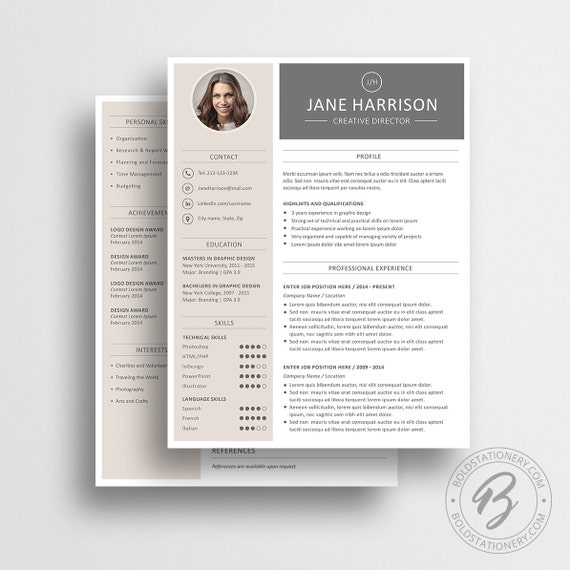 Modern resume Template on Etsy