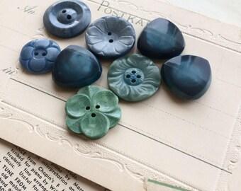 Vintage blue buttons ocean colour sewing supplies
