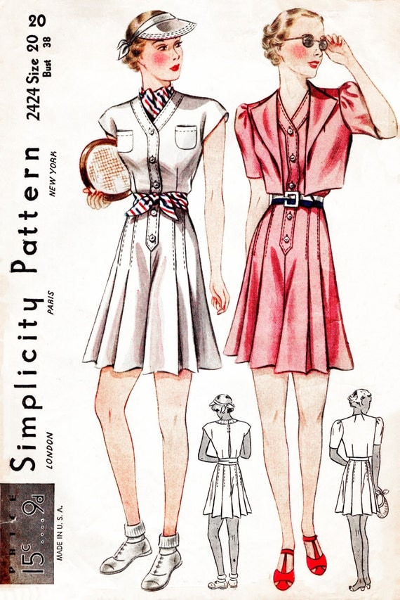 1930s Dresses, Clothing & Patterns Links 30s 1930s vintage sewing pattern playsuit culottes sports ensemble bust 38 b38 reproduction  AT vintagedancer.com