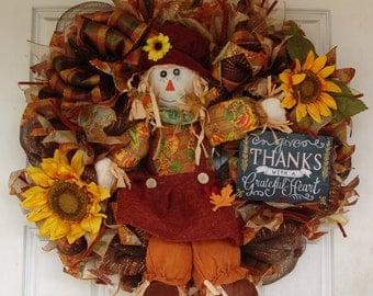 Fall Wreath, Autumn decor, Scarecrow Girl, Sunflower, Deco Mesh Door, Thanksgiving, Door Hanger, Country Home, Farmhouse Decor, Porch Sign