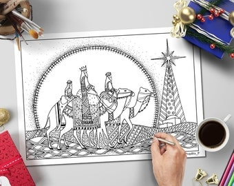 3 Wise men Christmas coloring page for adults, printable zentangle coloring page for grown ups, printable women gift, adult coloring pages
