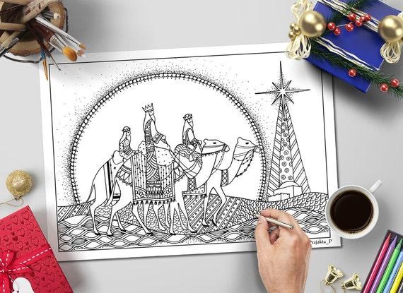 3 Reyes Magos Navidad para colorear página para adultos