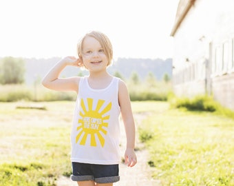 Here Comes the Sun WHITE Tank Top - Beatles Shirt - Sunshine Shirt - Hipster Toddler - Twins Outfit