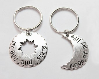 GAME OF THRONES.  Couples Keychain Set. Song of ice and fire. My sun and stars. Moon of my life. Khal and Khaleesi. Sun. Sun, Stars, Moon.