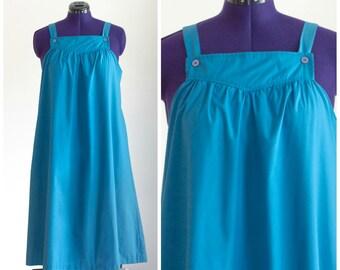 Blue yoke neck sleeveless tent dress