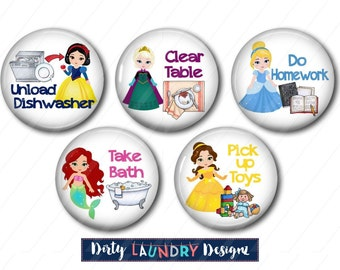Chore Magnets Chart Magnets, Kids Chore Magnets, Kids Chart Magnets, Fridge Magnets Chore Magnets, Princess Chore Magnets, Princess