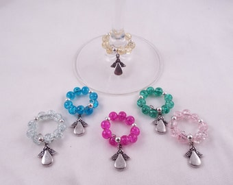 Guardian Winegels  (Set of 6 Angel Themed Memory Wire Wine Glass Charms)