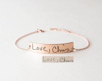 Actual Handwriting Bracelet • Engraved Signature Bracelet • Memorial Custom Handwriting • Personalized Keepsake Gift • Mother's Gifts • BM20