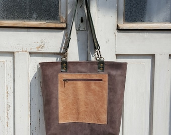 Gray leather tote **Free shipping**