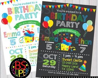 Birthday Party Invitation , Sibling Birthday Invitations , Double Birthday Party Invitation, Joint Party Invite