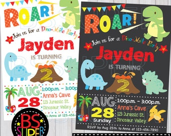 Dinosaur birthday invitation, Dinosaur invitation, dinosaur birthday party, Chalkboard Dinosaur party invite
