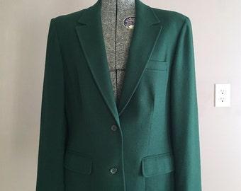 Vintage Pendleton Blazer, Retro Green Wool Lightweight Jacket