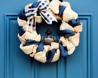 Hanukkah Wreath , Chanukah Wreath , Blue Gingham Wreath ,  Blue Burlap Wreath ,  Indoor Wreath , Housewarming Gift , Winter Burlap Wreath