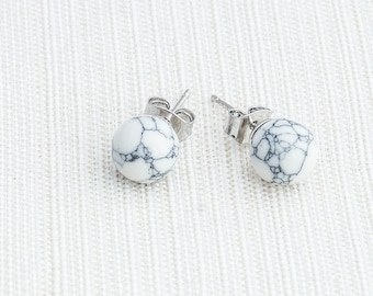 White Howlite Earrings, White Marble earrings