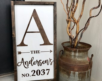 Custom Family name and address sign or year est sign. Front porch decor. Wedding gift. Anniversary gift. Farmhouse decor.
