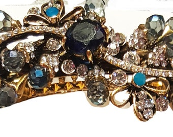 New Art Deco Antique Gold With Sapphire & Turq Crystal  Rhinestones Cluster 3 1/2'' Hair Barrette