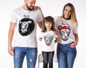 Papa Lion, Mama Lion, Little Lion, Baby Lion, Matching Family Shirts, Animal Shirts,  UNISEX