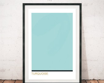 Turquoise print, Turquoise color art, Color block art, Minimalist art print, Minimalism, Modern wall art, Modernism, Contemporary print