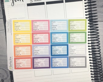 Flight Tracker Planner Stickers - Option to customize color