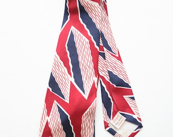 Vintage 40s Regal All Silk Cravats Red White and Blue Diamond Squiggle Design Swing Tie / Deco Tie