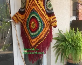 Crochet Poncho with detachable Hood/Bohemian Hooded Poncho/Coloful Handmade Poncho-remouvable Hood