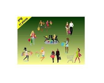 Shopping clipart - PNG Digital Clip Art - Instant Download