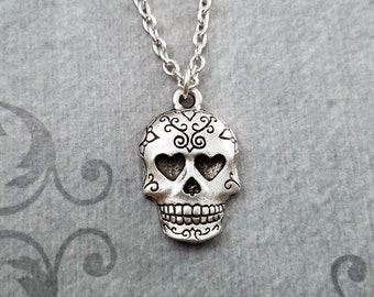 Sugar Skull Necklace SMALL Skull Jewelry Dia De Los Muertos Jewelry Day of the Dead Necklace Muertos Necklace Sugar Skull Charm Pendant Gift