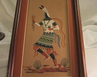 Native American Sand Painting of a Navajo Dancer - Matted and Framed