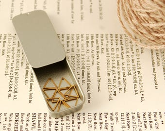 Triangle stitch markers for knittting or crochet; pack of 10 brass triangles with holder