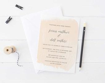 Minimal Wedding Invitation Peach Watercolour - Printable Design