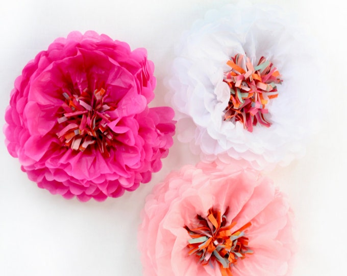 "14"" Tissue Flower, Paper Flower, Flower Party Decor, Tissue Pom Pom,  Photo Backdrop, Peony Party, Party Decor, Wedding Decor, Baby Shower"