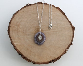 Amethyst Stalactite Necklace, Purple Amethyst Necklace, Stalactite Pendant, Amethyst Slice Necklace, Sterling Silver, Stalactite Jewelry