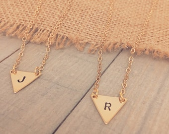 Gold Plated 13mm Bunting / Triangle Handstamped Initial Necklace