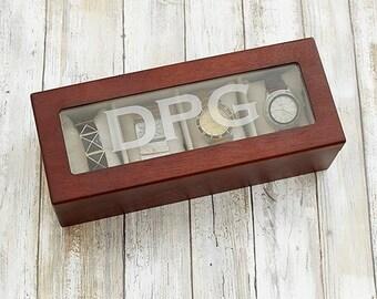 Watch Box, Black Watch Box, Brown Wood Watch Box, Personalized Watch Box, Wood Watch Box , Engraved Watch Box