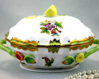 Hand Painted, Herend Small Tureen,Decorative, Collectible Lidded Dish, Bone Hungarian China made in 1970s.