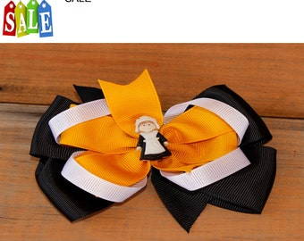 Pilgrim Fall hair bow, fall hair bow, Holiday hair bow, pumpkin hair bow, hair bow, Orange hair bow fall hair bow