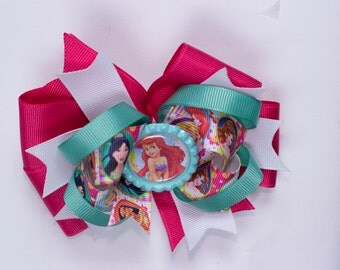 Girl hair bow Disney Princess bow  Princess hair  bow  Ariel hair bow Little Mermaid  hair bow  girl hair bow Ariel hair bow.