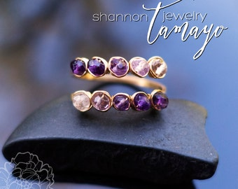 Amethyst on Red Brass Hand-Forged Ring - Matchstick Collection - Gemstone Purple Ombre Gradient Shaded Jewelry - Unique Channel  Wrap Around