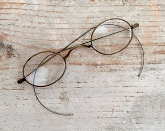 Antique Oval Wire Frame Eyeglasses, Brass Wire Rim Glasses, Victorian
