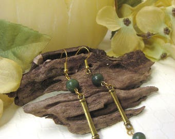 Jade Earrings, Gemstone Earrings, Green Earrings, Long Earrings, Dangle Earrings, Antiqued Gold Earrings
