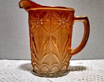 "Vintage Carnival Glass, ""Poinsettia"" Pitcher, Marigold Carnival Glass Jug by Imperial Glass Company, Milk Jug, Art Deco, Circa 1930s"