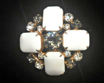 Vintage Lucite and Rhinestone Brooch, White Lucite Cabochons, Smoke and Clear Rhinestones, Art Deco Inspired, Mid Century, Circa 1950s