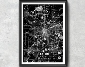 Dayton Ohio Map with Coordinates, Dayton Wall Art, Dayton Map, Map Art, Dayton Print, Dayton Art, Dayton Poster, Dayton Wall Art, Dayton Map