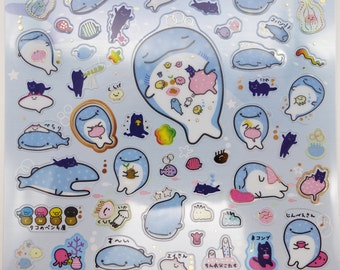 Japanese Jinbei-San whale shark stickers by San-X! Kawaii whale stickers, ocean stickers, sea life stingray cute jellyfish, fish stickers #2