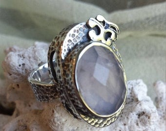 Sterling silver hammered look faceted rose quartz ring size 7